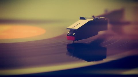 Record player turntable close up stock footage