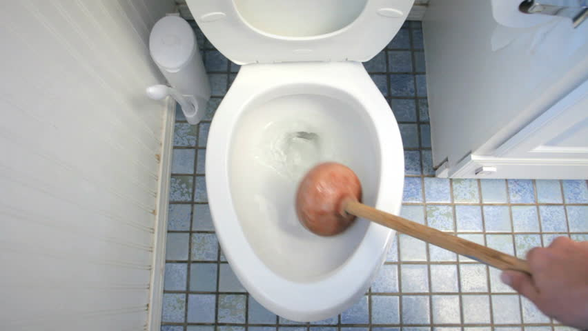 Using Plunger For Clogged Toilet In Bathroom Stock Footage Video 7420900 |  Shutterstock
