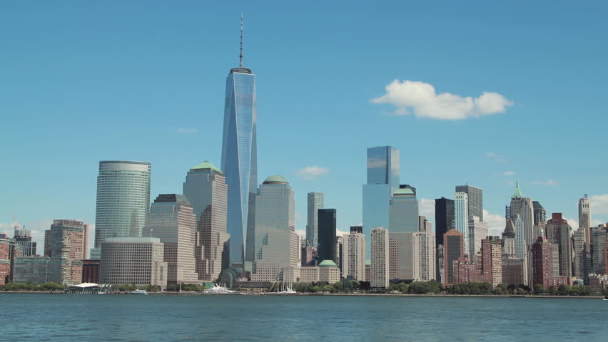 The Freedom Tower Under Construction As Part Of The New World Trade Center Complex Rises Over