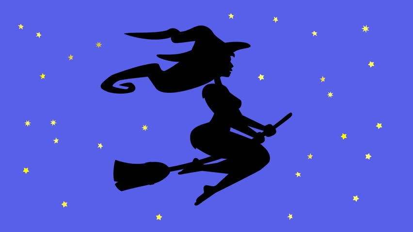 a halloween witch flying on her broom hd stock video clip - Flying Halloween Witch