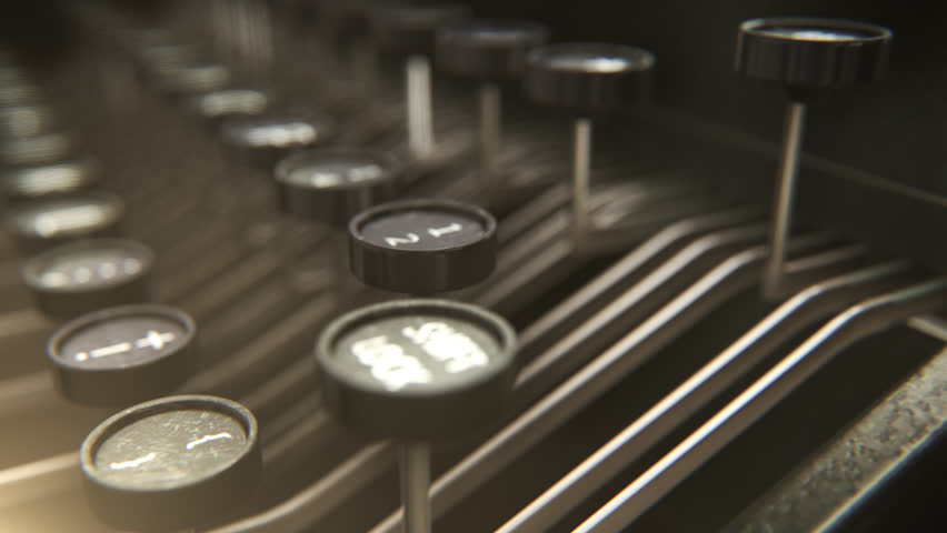 01748 Vintage Typewriter On Table Over Black Background | Shutterstock HD Video #7459189