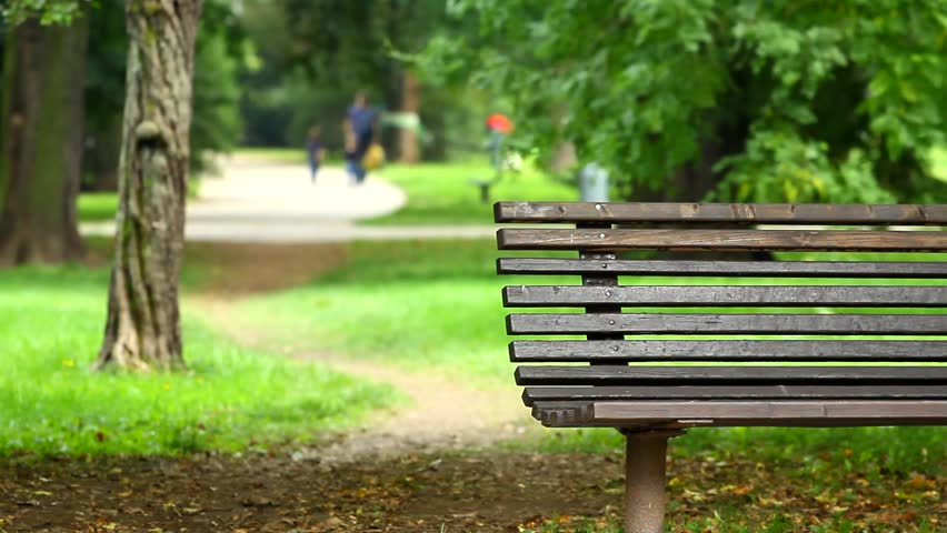 Stock Video Clip Of Empty Wooden Park Bench In A Late