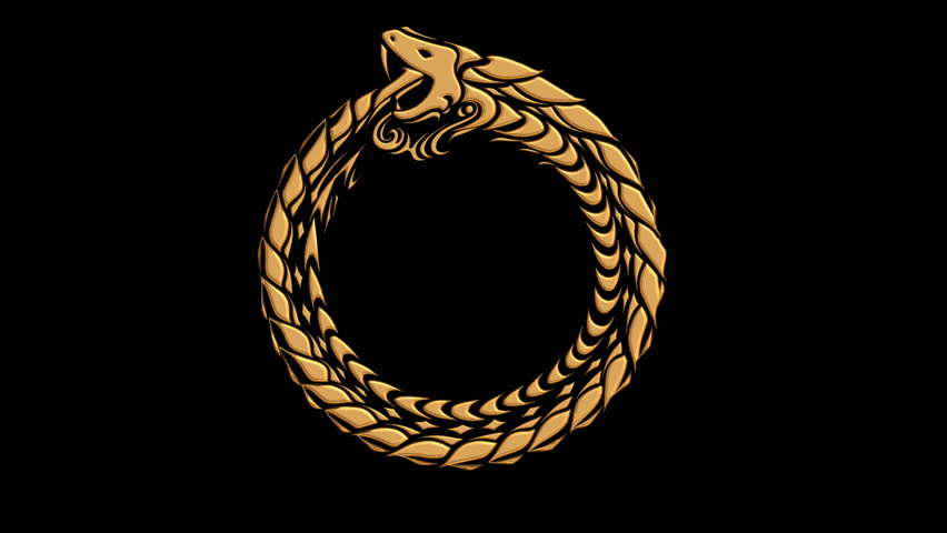 Ouroboros Symbol Of Ancient Golden Snake Eating Its Tail In Animated
