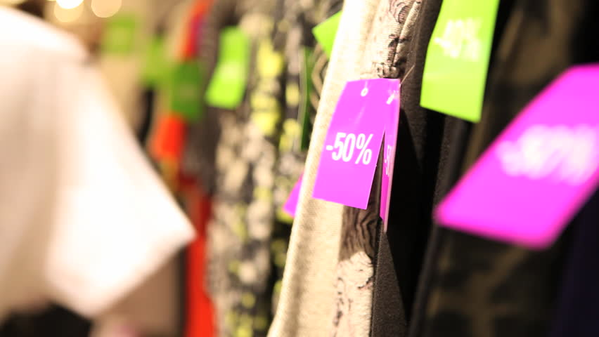 Sale labels on clothes