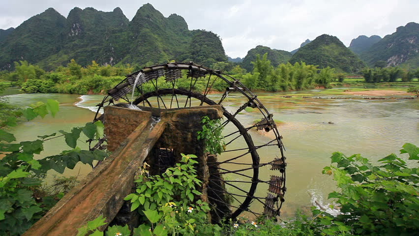 Bamboo Water Wheel The Use Of Water Power For Irrigation