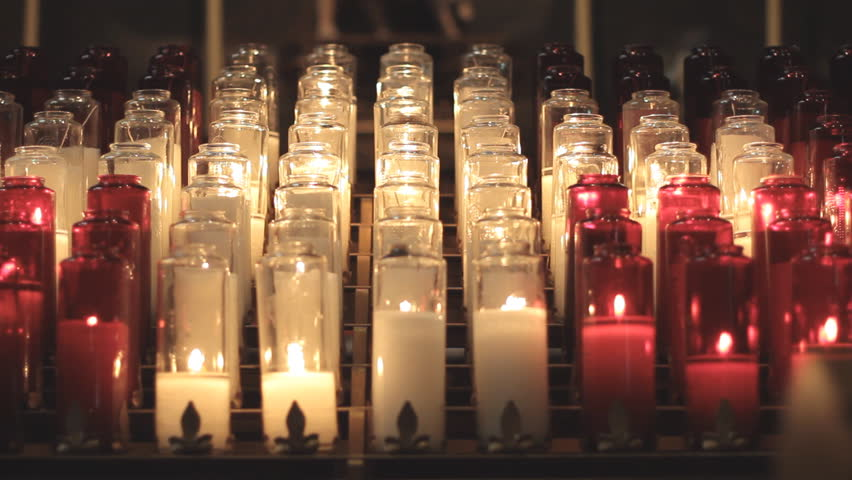 prayer candles in a catholic stock footage video 100