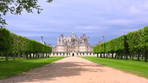 Distant shot of the beautiful chateau of Chambord in the Loire Valley in France.