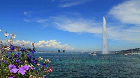 Geneva water fountain (Jet d'eau), Switzerland. Find similar clips in our portfolio.