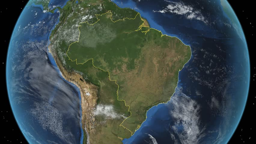 Brazil. 3d earth in space - zoom in on Brazil contoured.