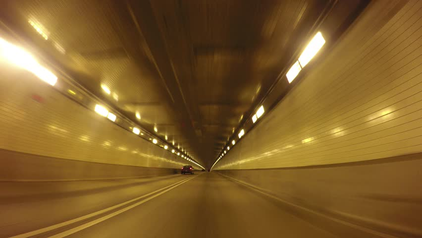 Driving inside the Fort Pitt Tunnels in Pittsburgh, Pennsylvania.