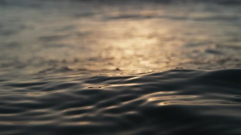 Calm sea surface, really close focus, in slow-motion from the water in the evening. Shot on RED Cinema Camera in 4K, crop, rotate and zoom easily. H264 codec High bit rate.