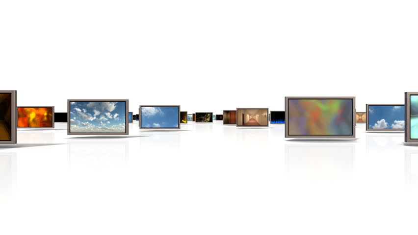 A camera Moving Through a group of Video Displays displaying different video clips. included are an alpha channel and trackers for changing the final screen video if needed.    Shutterstock HD Video #762490