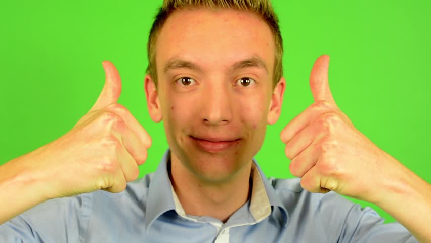 Man - green screen - portrait - man agrees (shows thumbs up for approval) | Shutterstock HD Video #7634020