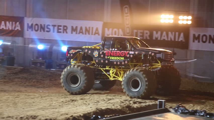 Moscow Russia March Big Monster Truck With Six Wheels