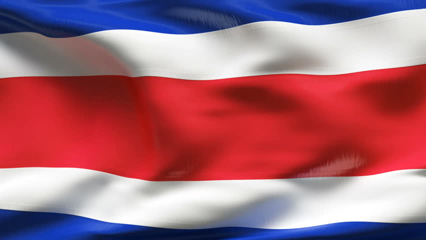 Textured COSTA RICA cotton flag with wrinkles and seams
