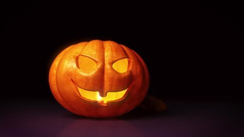 Animated Halloween Pumpkin, Orange, with Matte and Tracking Reference for custom Titles.