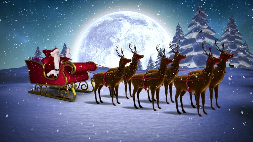 pictures of santa and his sleigh digital animation of santa waving in his sleigh with 1554