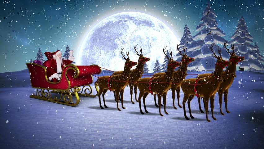 digital animation of santa waving in his sleigh with reindeer hd stock footage clip - Santa With Reindeer