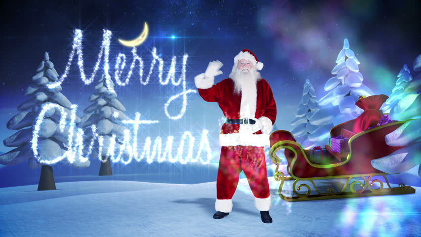 Digital animation of santa and his sled with magical christmas digital animation of santa and his sled with magical christmas greeting hd stock video clip m4hsunfo Images