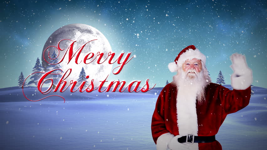 Digital animation of santa and his sled with magical christmas digital animation of santa presenting christmas message in snowy landscape hd stock footage clip m4hsunfo Images