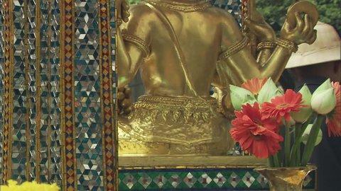 Statue of Phra Phrom at Erawan Shrine in Bangkok.