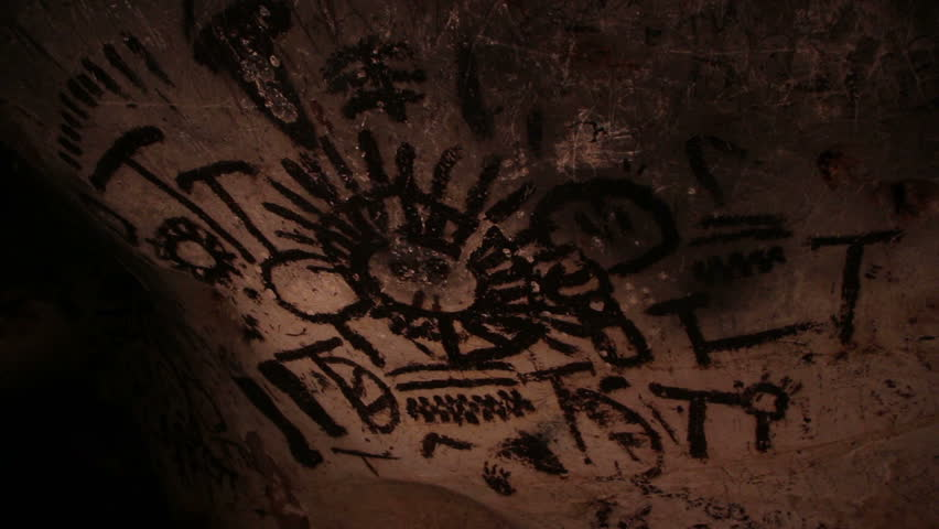 Rock paintings from Magura cave, Bulgaria. Some of the paintings are 7000 years old. Solar calendar.