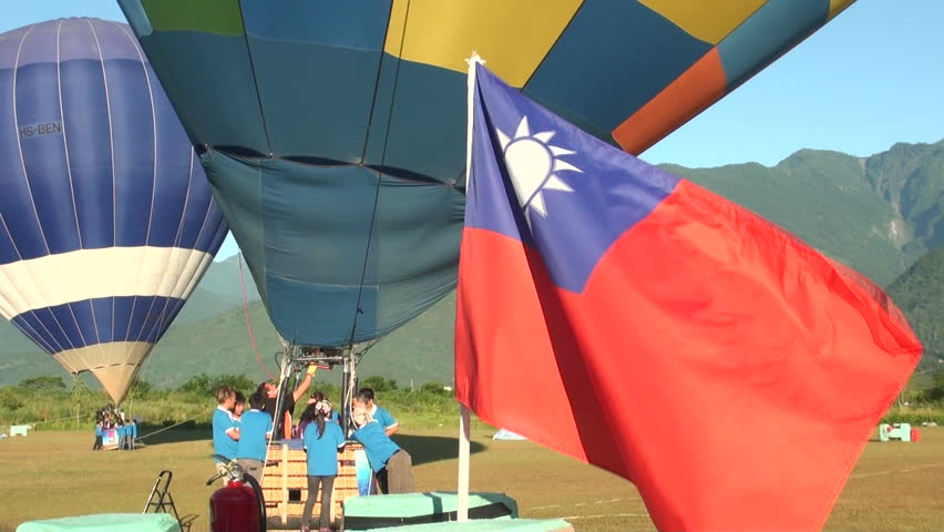 Hualian, Taiwan-10 July, 2013: Hot air balloons and ROC flag, Taiwan