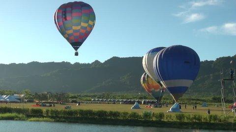 Hualian, Taiwan-10 July, 2013: Hot air balloons rising