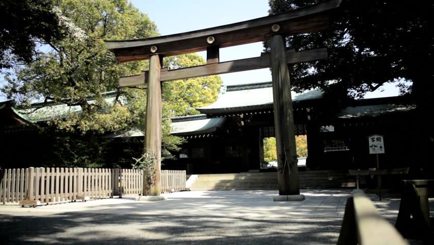 Ceremonial gate Meiji Jingu Shrine Yoyogi Park Japanese Shinto wooden forest nature Shibuya District Tokyo | Shutterstock HD Video #7791670