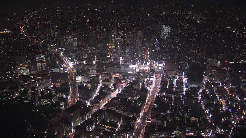 Aerial Metropolis illuminated nightlife Tokyo city Kabukicho entertainment district neon lights Business Shinjuku Japan | Shutterstock HD Video #7792750