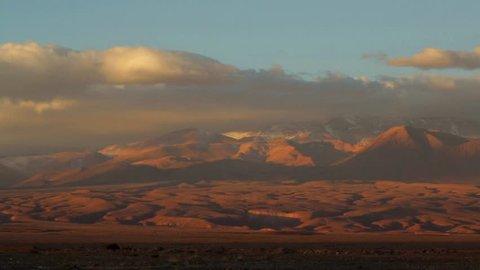 Licancabur Vulcano at Atacama Desert in Chile. .The volcano dominates the landscape of the Salar (is the largest salt flat in Chile) of Atacama area. Beautiful landscape.