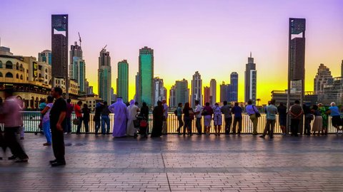 4K TimeLapse - 25 november 2012, Sunset view Dubai fountain show from Burj Khalifa, Dubai