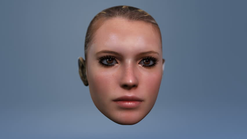 woman's head talking advanced CGI with matte for easy compositing into your own scenes  great for avatars