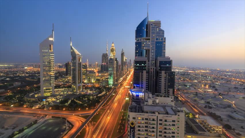 Day to night transition time lapse of Dubai's futuristic skyline by Sheikh Zayed Road, Dubai, United Arab Emirates | Shutterstock HD Video #7833730