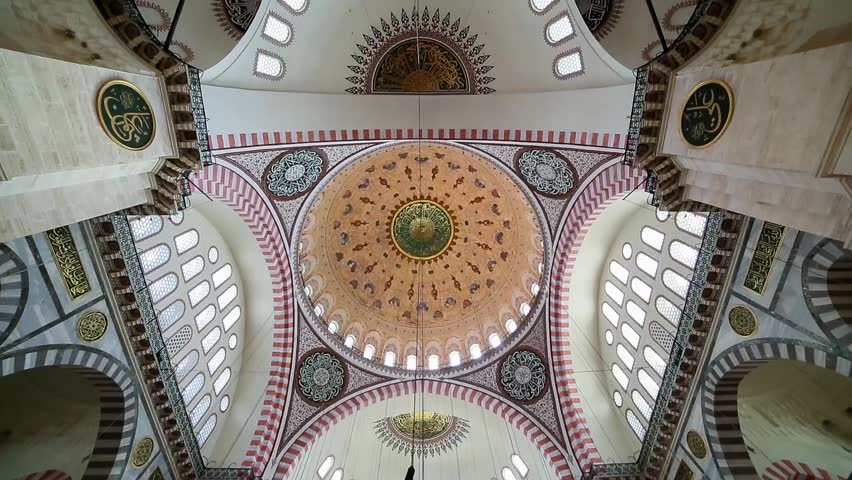 ISTANBUL, TURKEY - Octomer 31, 2014: Interior view in Suleymaniye Mosque in Istanbul, Turkey on Octomer 31, 2014.