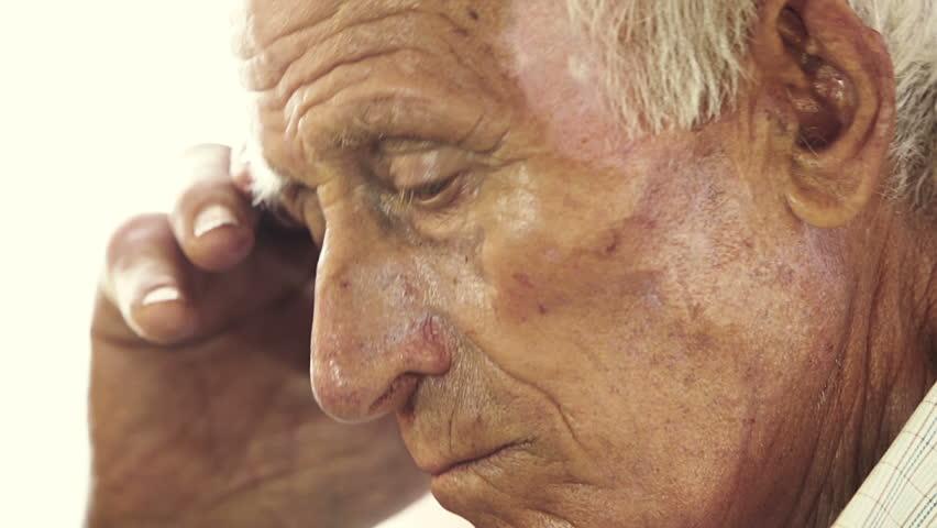 very old man portrait: aged, elderly, loneliness, senior, sad