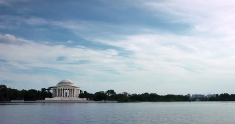 Jefferson Memorial Time Lapse across the Tidal Basin Wide Shot. There is plenty of room for graphics on this one. Or use the 4K in a HD show with a digital zoom in.