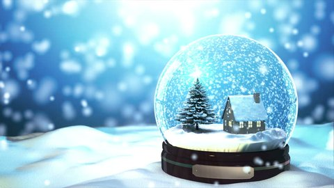 4K Loop able Christmas Snow globe Snowflake with Snowfall on Blue Background