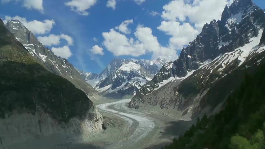 Mont Blanc - Mere de Glace - Chamonix - The Big Thaw - TIME LAPSE Changes in the volume and thickness of the glacier Alpine ecosystems are articularly susceptible to disturbance due to short seasons | Shutterstock HD Video #7993060