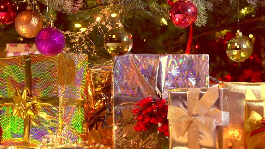 Decorated Christmas tree with gifts. Christmas… - Royalty Free Video