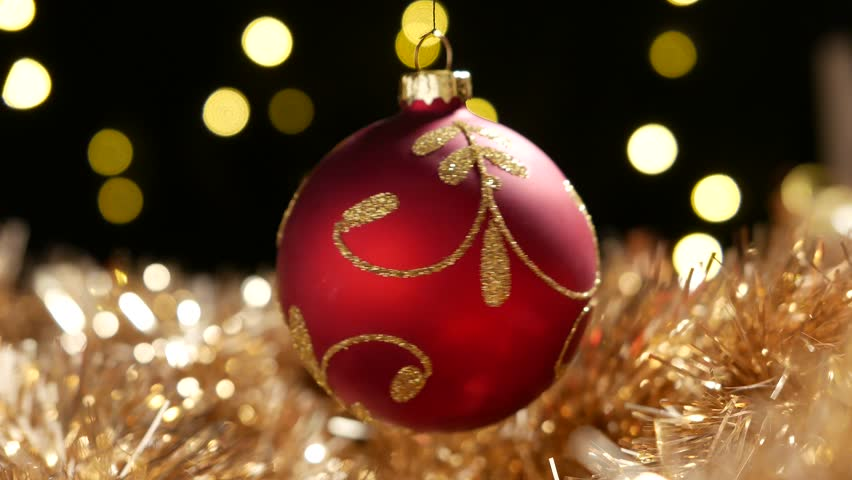 Stock Video Of Christmas Red Ball Spinning Above Golden