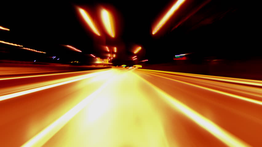 4K Loopable clip of a pov (point of view) night driving hyperlapse timelapse of night traffic shot from outside the windshield of a car in a highway in Greece. #8012467
