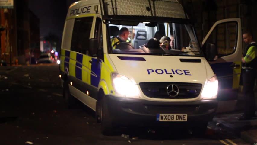 BRISTOL - July 6: Police in Van at St Pauls Carnival - July 6 2013 in Bristol England