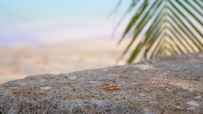 Closeup of Wedding Rings on the Beach at the Sea. Vacation, Honeymoon, Wedding, Marriage and Love Concept. HD, 1920x1080. | Shutterstock HD Video #8025730