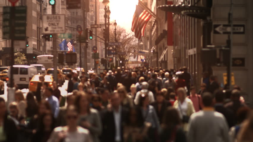 Large crowd of people walking in a big city street. Anonymous crowd. Daytime. High angle. More options in my portfolio. MORE OPTIONS IN MY PORTFOLIO. | Shutterstock HD Video #8038405