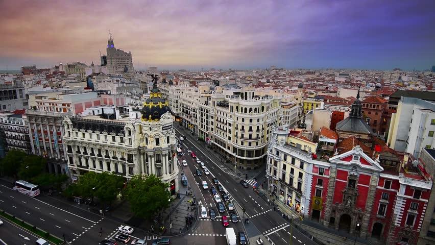 Madrid, Spain city skyline over Gran Via.