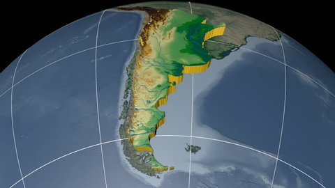 ARGENTINA extruded on the world map with graticule. Rivers and lakes shapes added. Colored elevation and bathymetry data used. Elements of this image furnished by NASA.