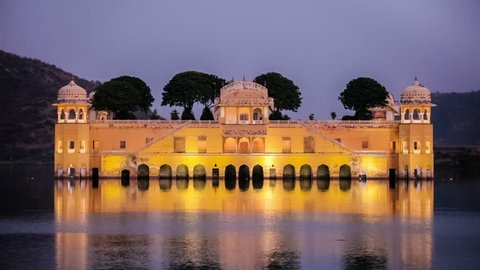 Rajasthan landmark - Jal Mahal (Water Palace) on Man Sagar Lake in the evening
