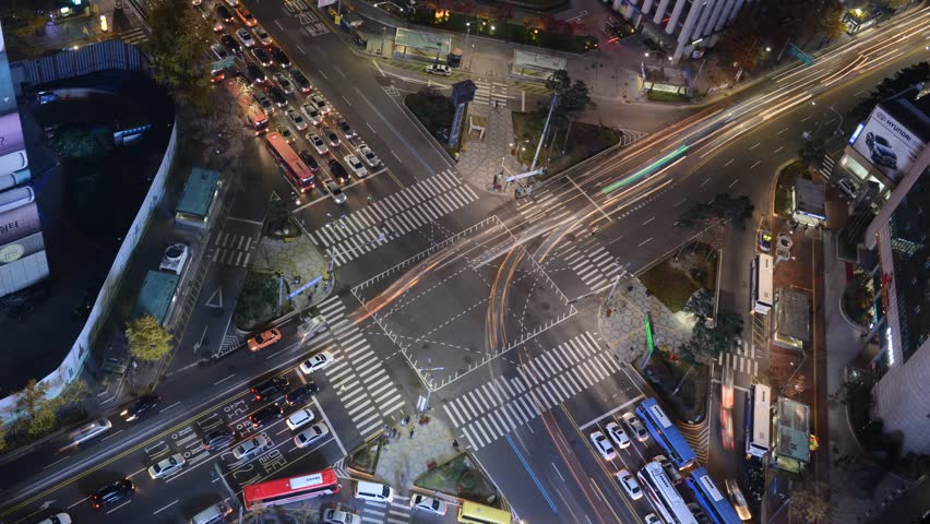 Fast motion concept of time lapse traffic in Seoul, Korea