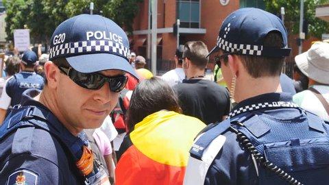 Aboriginal demonstration 25. BRISBANE, AUSTRALIA - CIRCA NOVEMBER 2014: Brisbane played host to the G20 Summit. The Brisbane Blacks, demonstrated for Aboriginal rights and the stolen children.